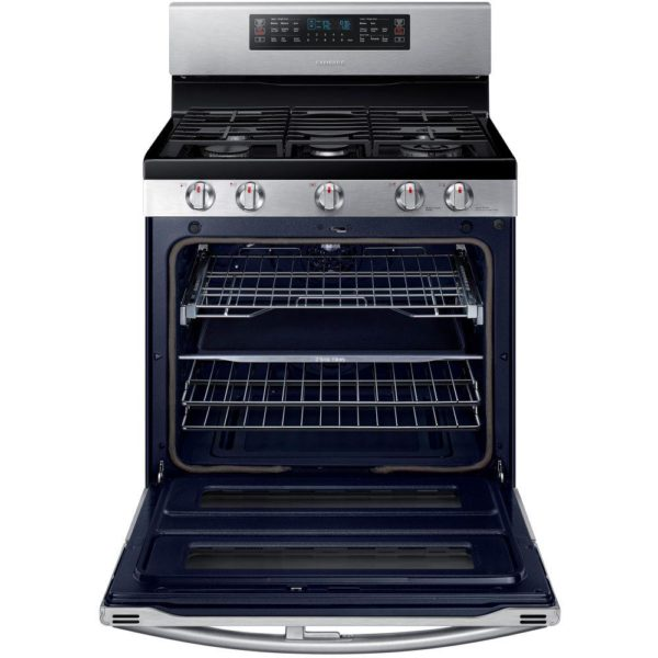 SAMSUNG 30 in. 5.8 cu. ft. Double Oven Gas Range with Self-Cleaning Convection Oven in Stainless