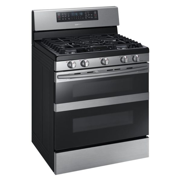 Samsung 30 in. 5.8 cu. ft. Dual Door Gas Range Double Oven with Self-Cleaning and Dual Convection Oven in Stainless Steel