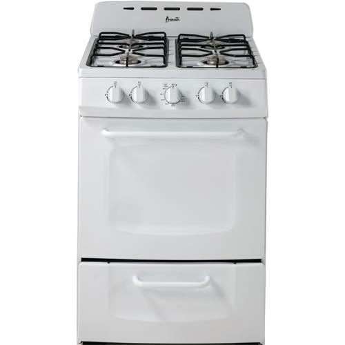 """Avanti GR024POW 24"""" Freestanding Gas Range Cooktop, White"""