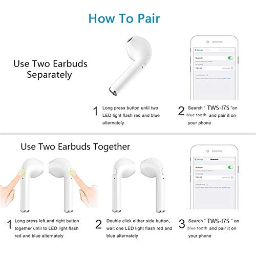 Bluetooth Headphones,Mr.Eleven Wireless Headset Earbuds Twins in Ear Earphone with Charger Box (White)