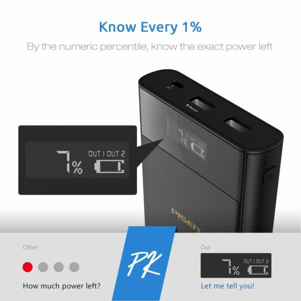 PISEN Power Bank 20000mAh, USB Portable Charger, Battery Pack with LCD Display, Large Size External Battery Charger with Dual USB for iPhone, iPad, Samsung...
