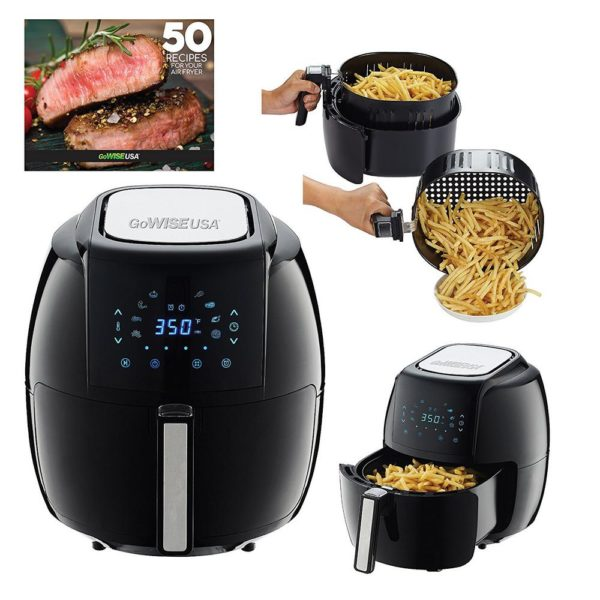 GoWISE USA Air Fryer with 6-Piece Accessory Set + 50 Recipes for Your Air Fryer Book (5.8-QT)