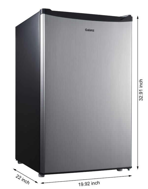 Galanz 4.3 Cu Ft Single Door Compact Refrigerator GL43S5, Stainless Steel Look