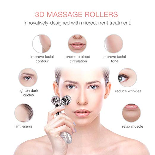 3D Microcurrent Facial Roller, Multifun Face Beauty Roller Body Massager