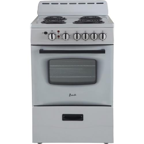 "Avanti - 24"" White Electric Coil Range With 2.6 CuFt Oven"