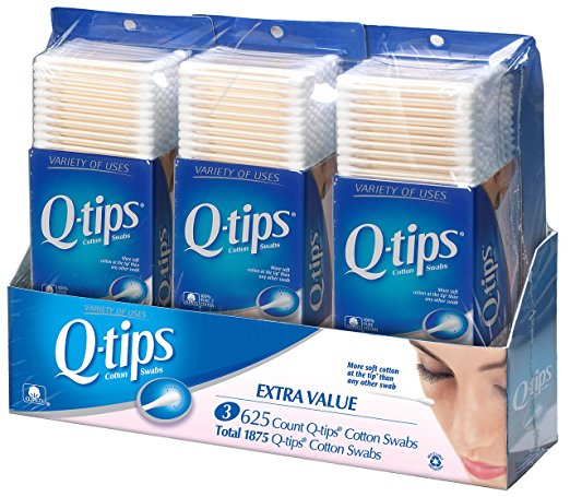 Q-Tips Cotton Swabs, Club Pack 625 ct, Pack of 3