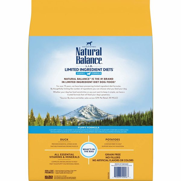 Natural Balance Puppy Formula L.I.D. Limited Ingredient Diets Dry Dog Food, Potato & Duck Formula, Grain Free