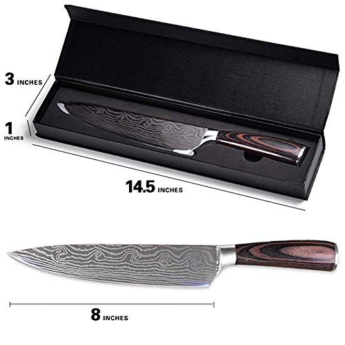 Professional Chef Knife, 8 Inch Pro Kitchen Knife, German High Carbon Stainless Steel Knife with Ergonomic Handle