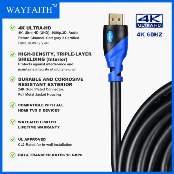 WAYFAITH HDMI Digital CL3 rated 4K 30Hz High Speed Cable 35 Feet Blue & Black