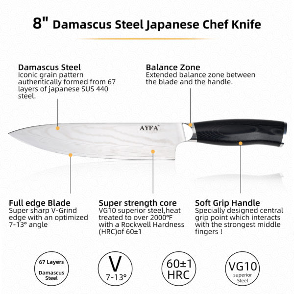 """Chef Knife 8"""" Damascus Steel Sharp Professional Japanese Blade Material VG10 with Knife Sharpener 3-Stage & Resistant Glove Included by AYFA"""