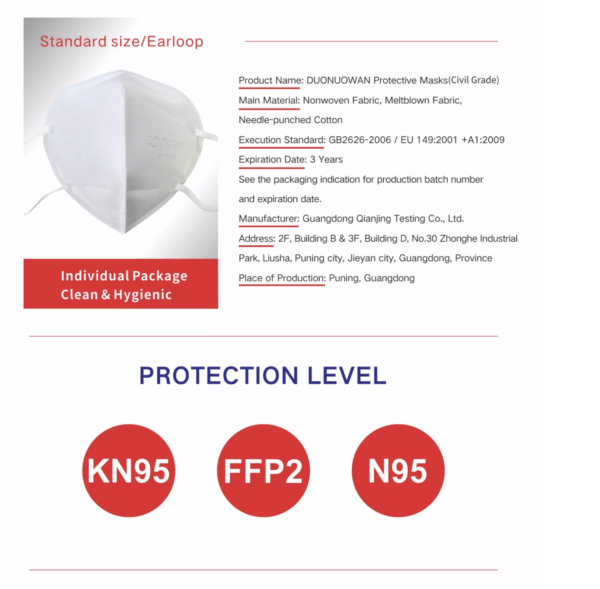 AYFA KN95 Dust Masks Disposable Antivirus 95% Filtered Protection (White) 40pcs
