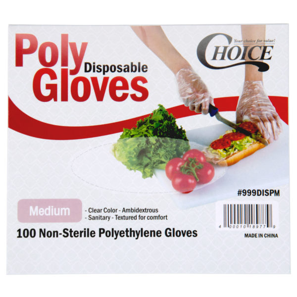 Disposable Poly Gloves - Medium for Food Service - 100/Pack by AYFA
