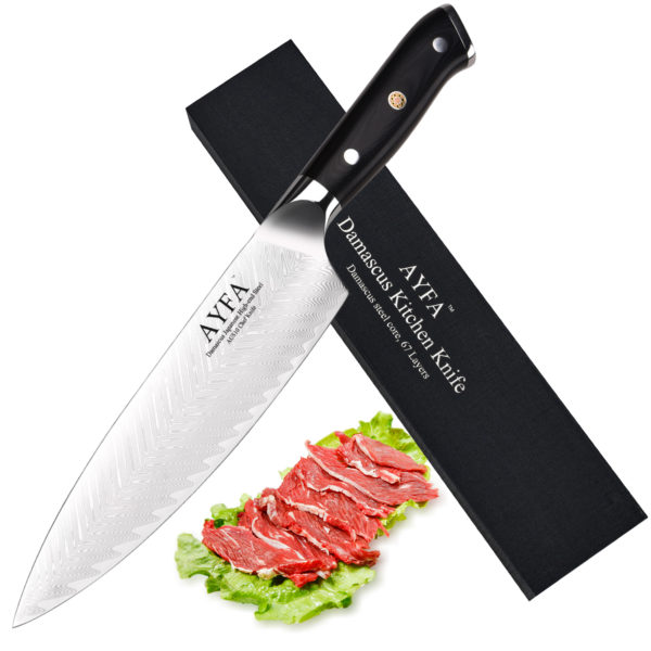 Chef Knife 8 Inch Damascus Japanese High-end Steel Material AUS10 Stainless Steel Blade by AYFA.