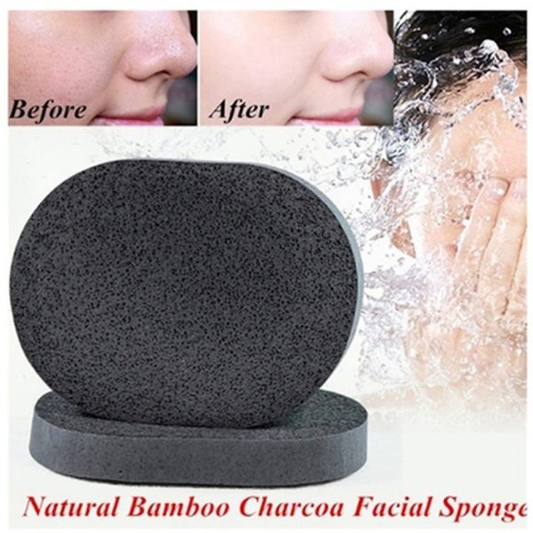 Sponge Bamboo Charcoal Face Wash Deep Cleaning Velvet Facial by AYFA