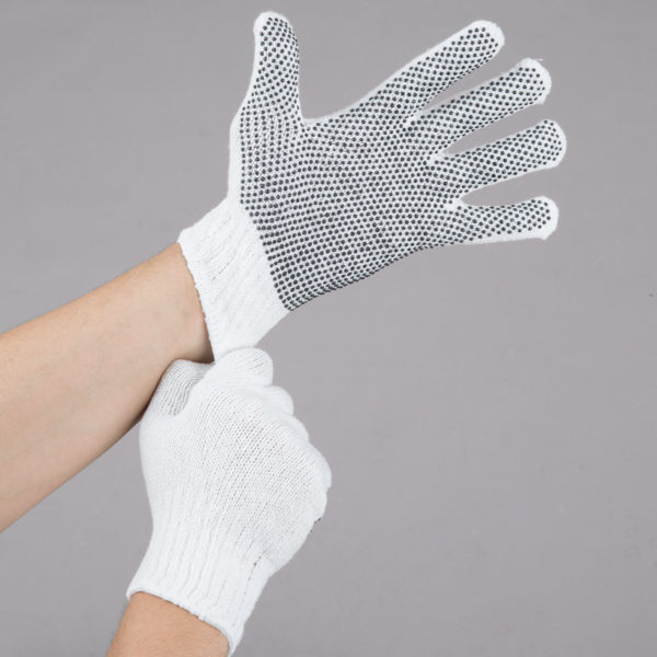 Gloves Polyester Cotton Work  with Black PVC Dotted Palm Coating - Medium - Pair - 12/Pack by AYFA