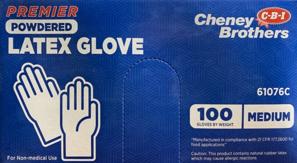 Gloves Latex Powdered Disposable for Food Service Size Medium 100pcs